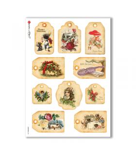 CHRISTMAS-0256. Carta di riso vittoriana Natale per decoupage.
