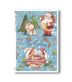 CHRISTMAS-0315. Carta di riso Natale per decoupage.