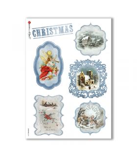 CHRISTMAS-0257. Carta di riso vittoriana Natale per decoupage.