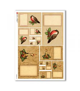 CHRISTMAS-0258. Carta di riso vittoriana Natale per decoupage.