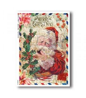 CHRISTMAS-0334. Carta di riso vittoriana Natale per decoupage.