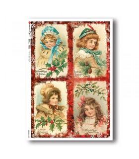 CHRISTMAS-0338. Carta di riso vittoriana Natale per decoupage.