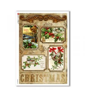 CHRISTMAS-0259. Carta di riso vittoriana Natale per decoupage.