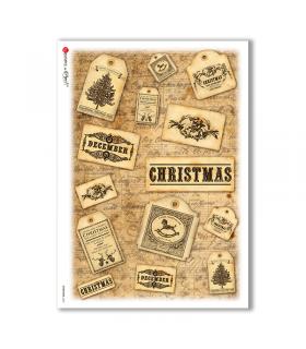CHRISTMAS-0260. Carta di riso vittoriana Natale per decoupage.