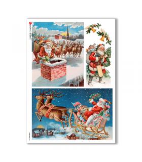 CHRISTMAS-0263. Carta di riso vittoriana Natale per decoupage.