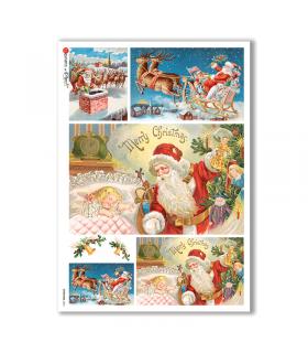 CHRISTMAS-0264. Papel de Arroz Navidad victoriano para decoupage.