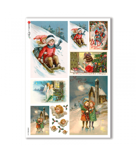 CHRISTMAS-0265. Carta di riso vittoriana Natale per decoupage.