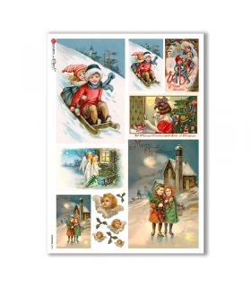 CHRISTMAS-0265. Papel de Arroz Navidad victoriano para decoupage.