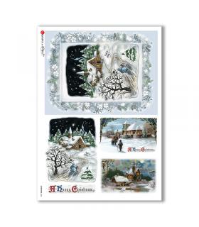 CHRISTMAS-0266. Carta di riso vittoriana Natale per decoupage.