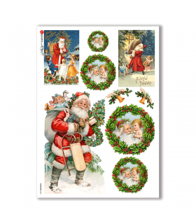 CHRISTMAS-0267. Carta di riso vittoriana Natale per decoupage.