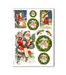 CHRISTMAS-0267. Papel de Arroz Navidad victoriano para decoupage.