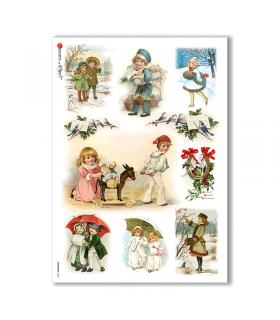 CHRISTMAS-0269. Carta di riso vittoriana Natale per decoupage.