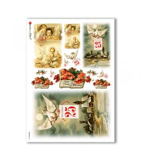 CHRISTMAS-0270. Carta di riso vittoriana Natale per decoupage.