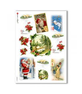 CHRISTMAS-0271. Carta di riso vittoriana Natale per decoupage.