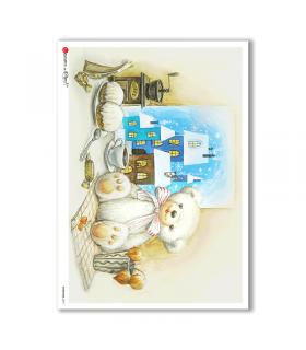 CHRISTMAS-0273. Papel de Arroz Navidad victoriano para decoupage.
