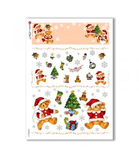 CHRISTMAS-0275. Carta di riso vittoriana Natale per decoupage.