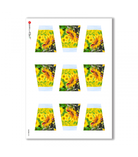 FLOWERS-0003. Carta di riso fiori per decoupage.