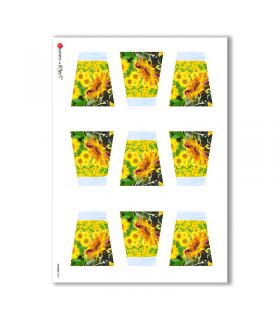 FLOWERS-0003. Papel de Arroz flores para decoupage.