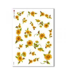 FLOWERS-0004. Papel de Arroz flores para decoupage.