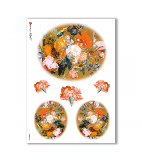 FLOWERS-0005. Carta di riso vittoriana fiori per decoupage.
