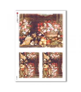 FLOWERS-0006. Papel de Arroz victoriano flores para decoupage.