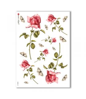 FLOWERS-0007. Papel de Arroz victoriano flores para decoupage.