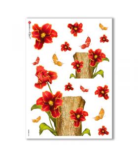 FLOWERS-0008. Papel de Arroz flores para decoupage.