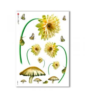 FLOWERS-0009. Papel de Arroz flores para decoupage.