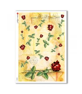 FLOWERS-0016. Papel de Arroz flores para decoupage.