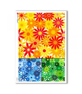FLOWERS-0022. Papel de Arroz flores para decoupage.
