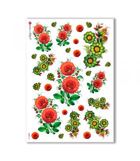 FLOWERS-0029. Papel de Arroz flores para decoupage.