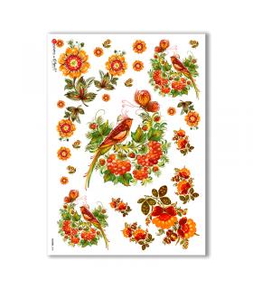FLOWERS-0030. Papel de Arroz flores para decoupage.