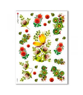 FLOWERS-0031. Papel de Arroz flores para decoupage.