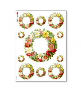 FLOWERS-0032. Carta di riso vittoriana fiori per decoupage.