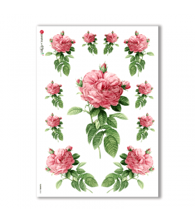 FLOWERS-0033. Carta di riso vittoriana fiori per decoupage.