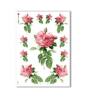 FLOWERS-0033. Papel de Arroz victoriano flores para decoupage.