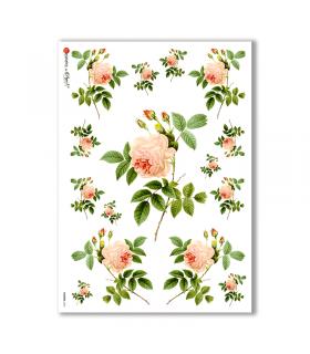 FLOWERS-0034. Papel de Arroz victoriano flores para decoupage.