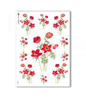 FLOWERS-0035. Papel de Arroz victoriano flores para decoupage.