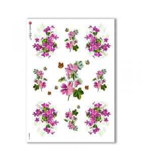 FLOWERS-0036. Papel de Arroz victoriano flores para decoupage.