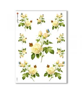 FLOWERS-0037. Carta di riso vittoriana fiori per decoupage.
