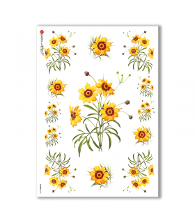 FLOWERS-0038. Papel de Arroz victoriano flores para decoupage.