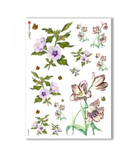 FLOWERS-0039. Papel de Arroz victoriano flores para decoupage.