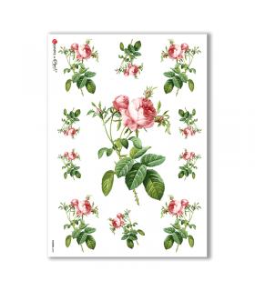 FLOWERS-0040. Papel de Arroz victoriano flores para decoupage.