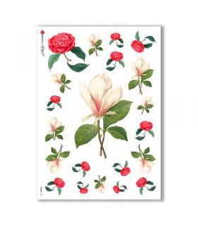 FLOWERS-0042. Papel de Arroz victoriano flores para decoupage.