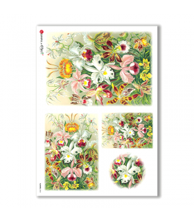 FLOWERS-0043. Carta di riso vittoriana fiori per decoupage.