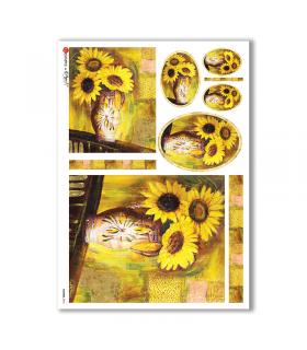 FLOWERS-0044. Papel de Arroz flores para decoupage.