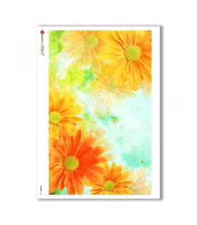 FLOWERS-0046. Papel de Arroz flores para decoupage.