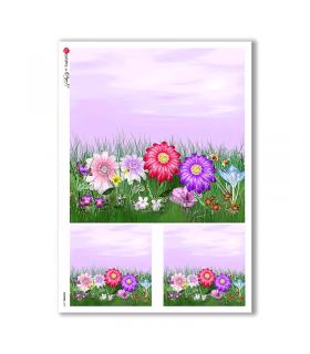 FLOWERS-0047. Papel de Arroz flores para decoupage.