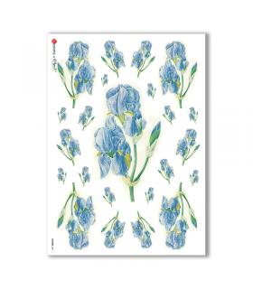 FLOWERS-0051. Papel de Arroz flores para decoupage.