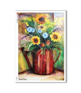 FLOWERS-0053. Carta di riso fiori per decoupage.
